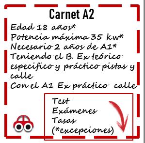 Carnet de moto a2